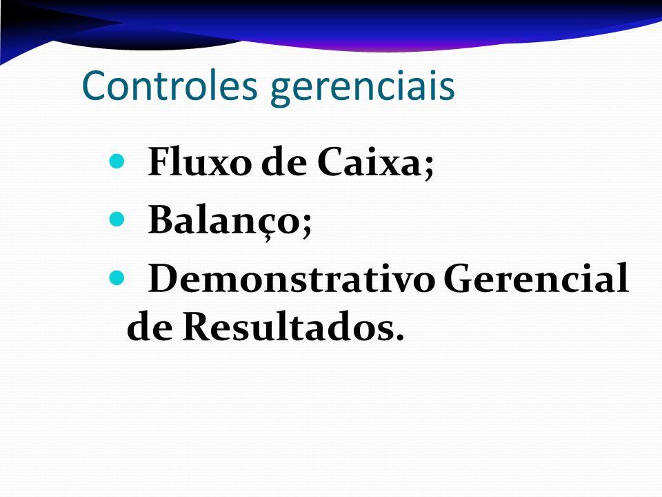Controles gerenciais Fluxo de Caixa; Balanço;