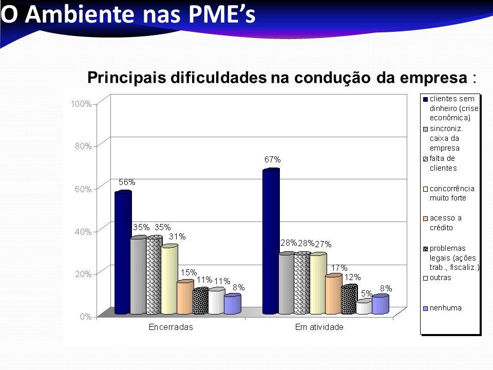 O Ambiente nas PME's Principais dificuldades na condução da empresa :