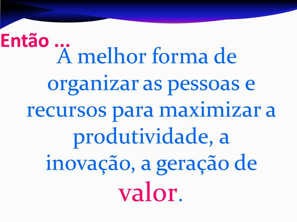 Então ...A melhor forma de organizar as pessoas e recursos para maximizar a produtividade, a inovação, a geração de valor.