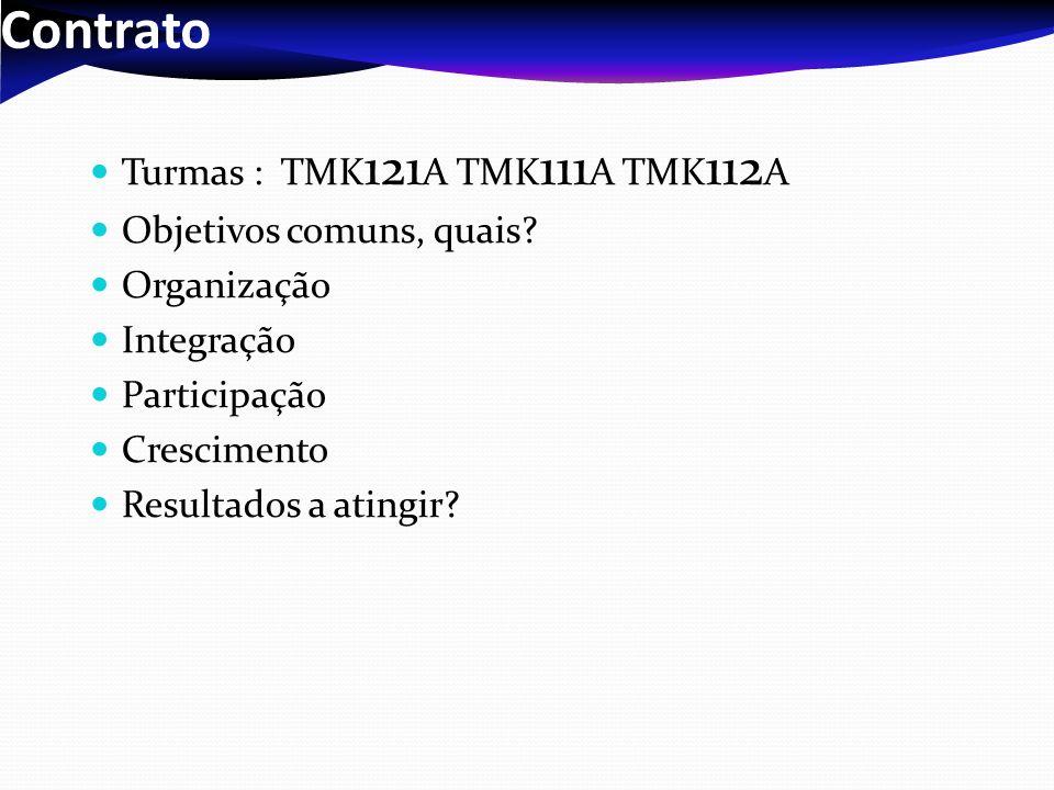 Contrato Turmas : TMK121A TMK111A TMK112A Objetivos comuns, quais