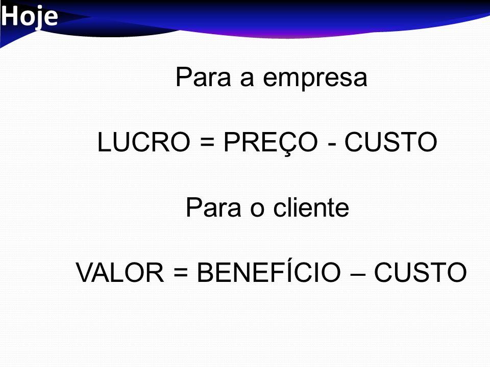 VALOR = BENEFÍCIO – CUSTO