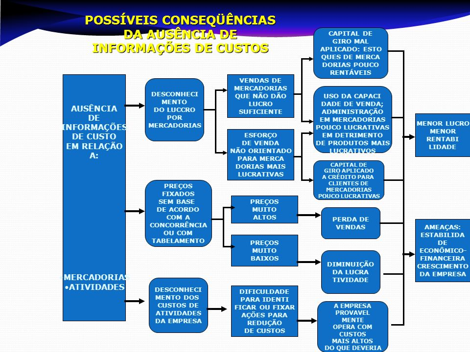 POSSÍVEIS CONSEQÜÊNCIAS DA AUSÊNCIA DE INFORMAÇÕES DE CUSTOS