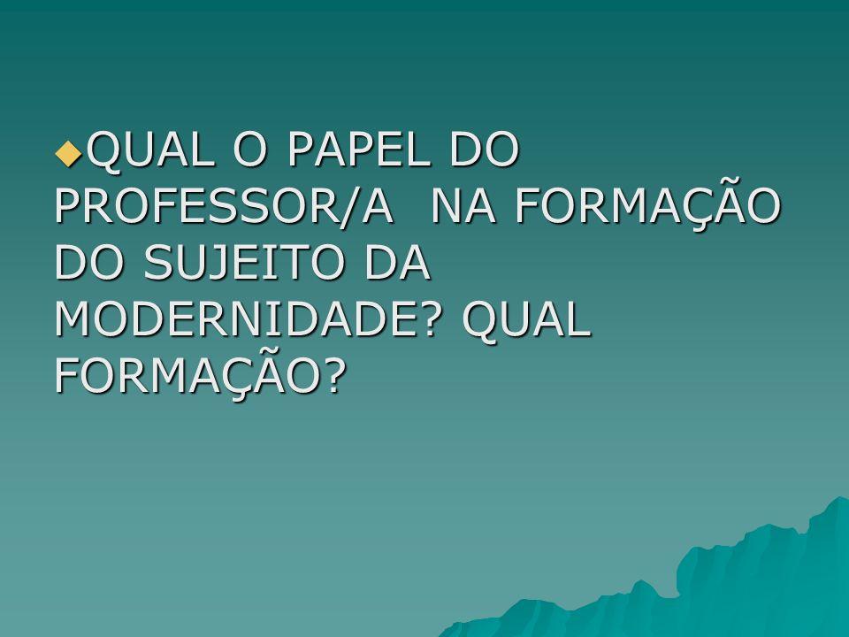 QUAL O PAPEL DO PROFESSOR/A NA FORMAÇÃO DO SUJEITO DA MODERNIDADE