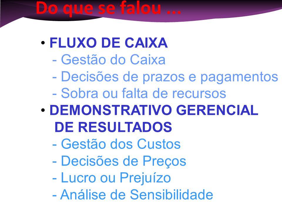 Do que se falou ... FLUXO DE CAIXA - Gestão do Caixa