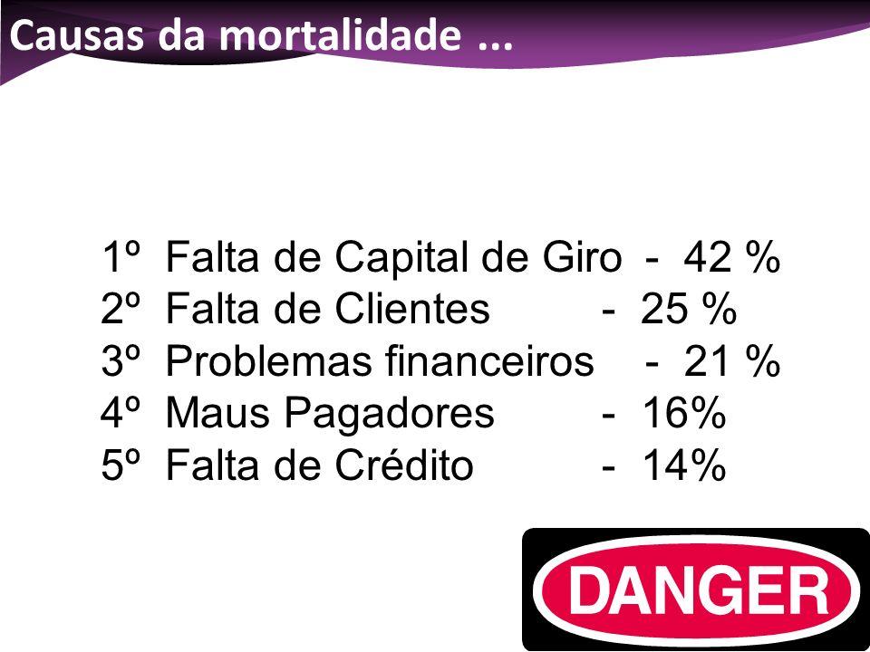 Causas da mortalidade ... 1º Falta de Capital de Giro - 42 %