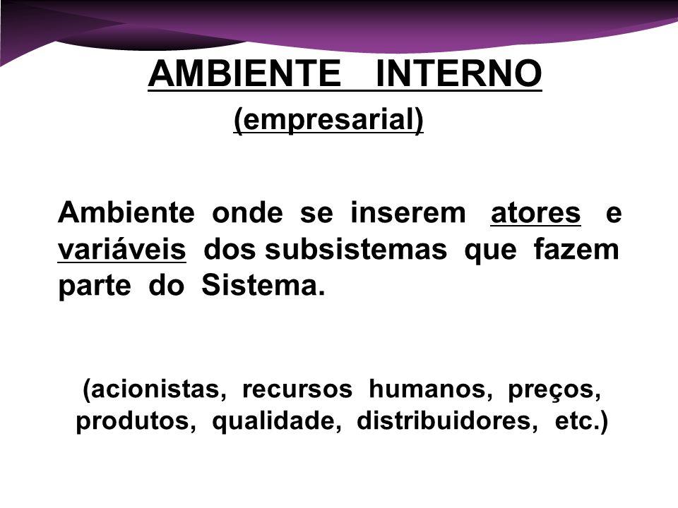 AMBIENTE INTERNO (empresarial) Ambiente onde se inserem atores e variáveis dos subsistemas que fazem parte do Sistema.