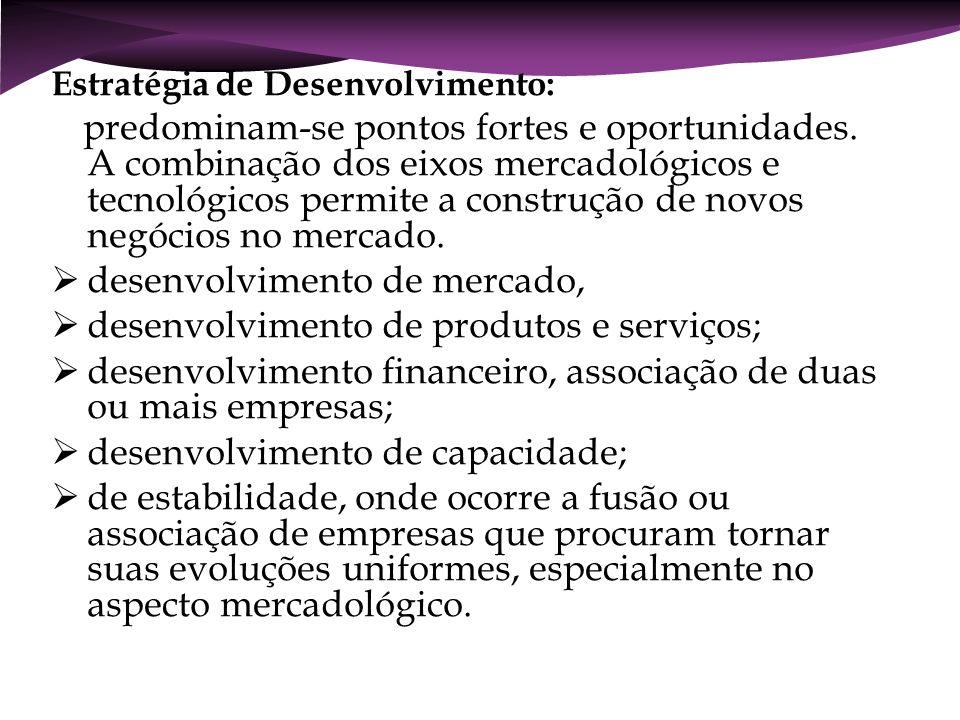desenvolvimento de mercado, desenvolvimento de produtos e serviços;