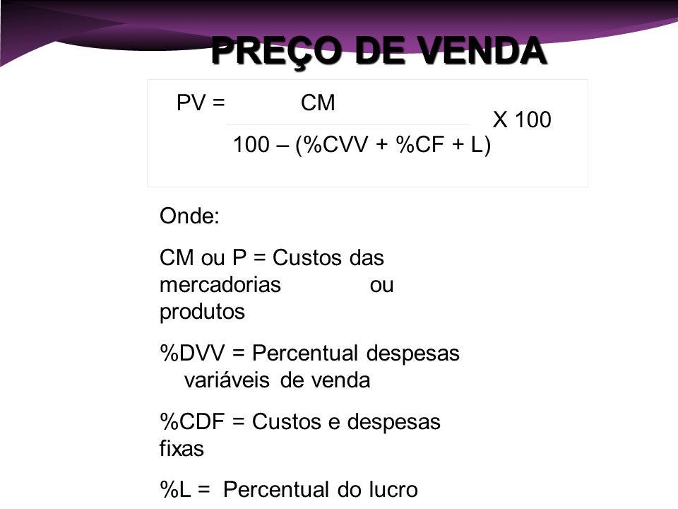 PREÇO DE VENDA PV = CM 100 – (%CVV + %CF + L) X 100 Onde: