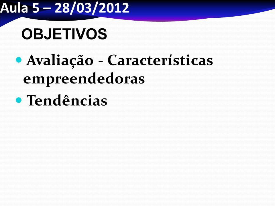 Aula 5 – 28/03/2012 OBJETIVOS Avaliação - Características empreendedoras Tendências