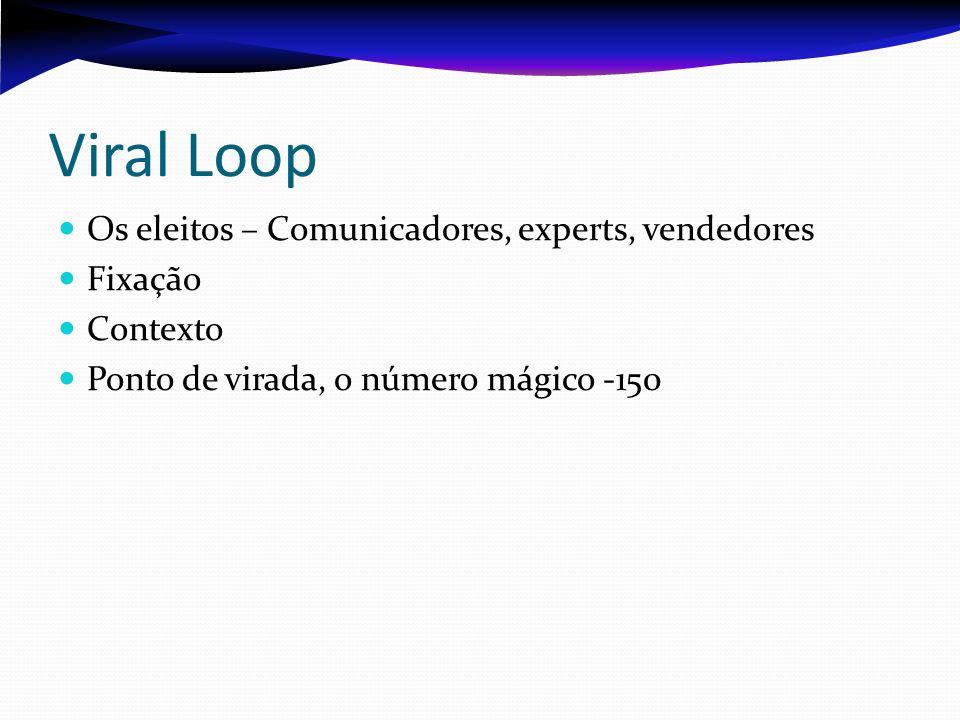 Viral Loop Os eleitos – Comunicadores, experts, vendedores Fixação