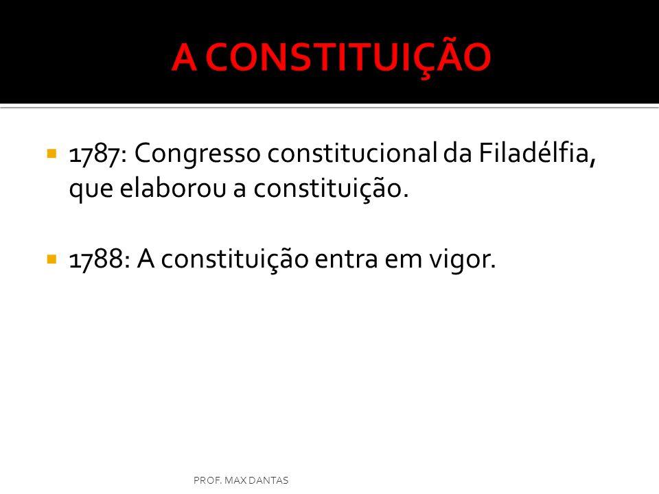 A CONSTITUIÇÃO 1787: Congresso constitucional da Filadélfia, que elaborou a constituição. 1788: A constituição entra em vigor.