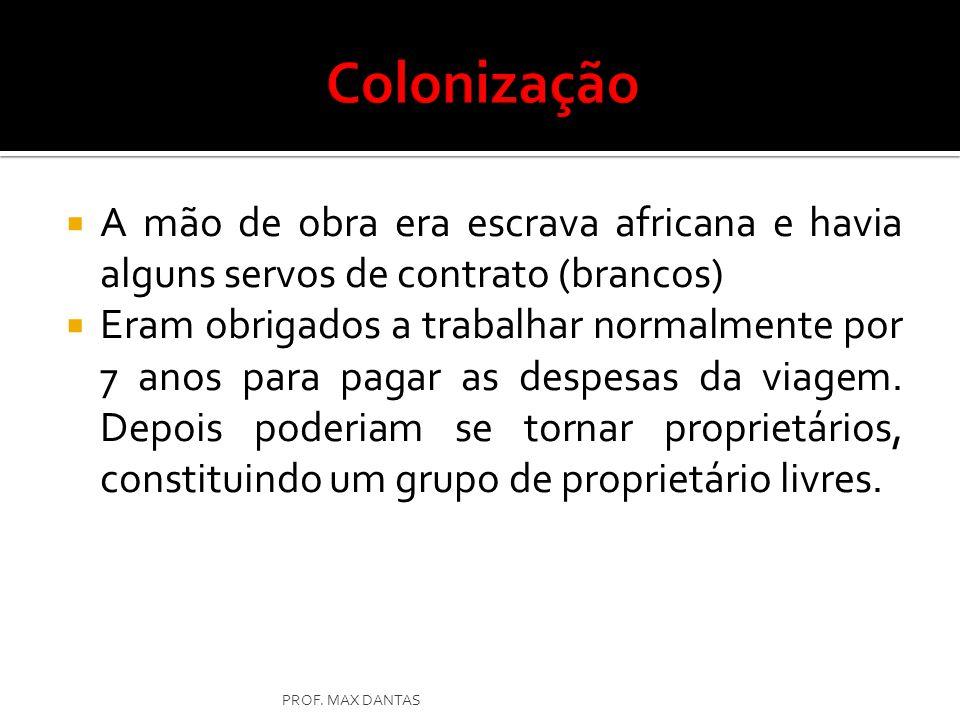 Colonização A mão de obra era escrava africana e havia alguns servos de contrato (brancos)