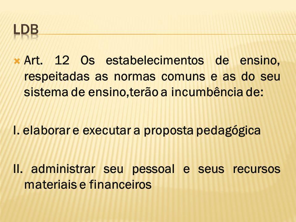 LDB Art. 12 Os estabelecimentos de ensino, respeitadas as normas comuns e as do seu sistema de ensino,terão a incumbência de: