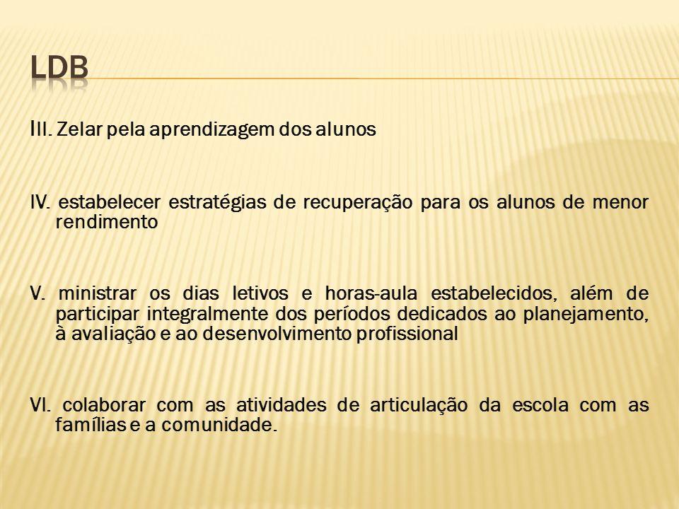 LDB III. Zelar pela aprendizagem dos alunos