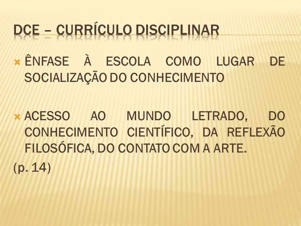 Dce – currículo disciplinar