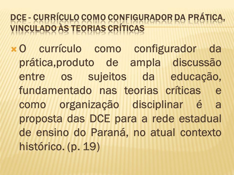 Dce - Currículo como configurador da prática, vinculado às teorias críticas