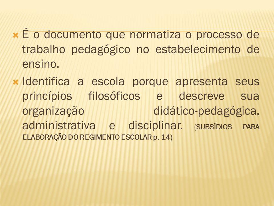 É o documento que normatiza o processo de trabalho pedagógico no estabelecimento de ensino.