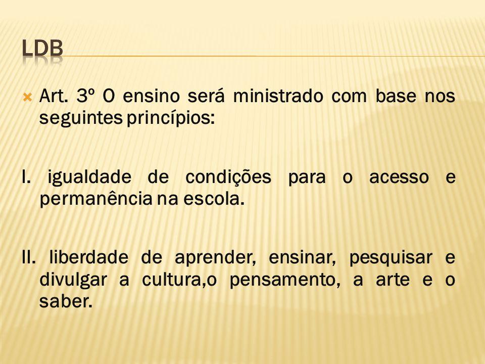 LDB Art. 3º O ensino será ministrado com base nos seguintes princípios: I. igualdade de condições para o acesso e permanência na escola.