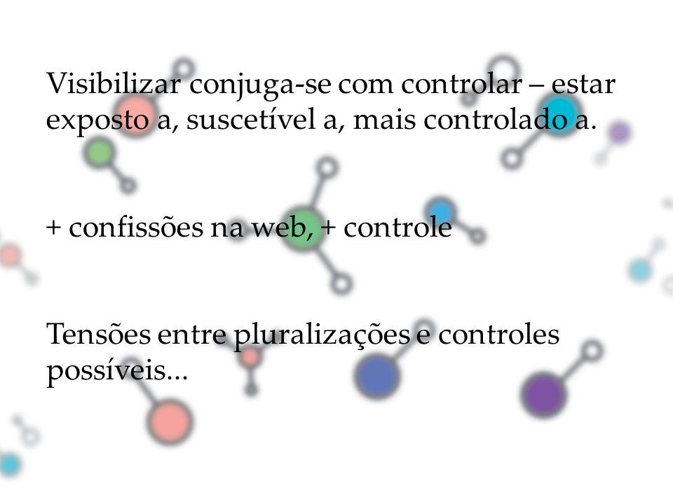 Visibilizar conjuga-se com controlar – estar exposto a, suscetível a, mais controlado a.