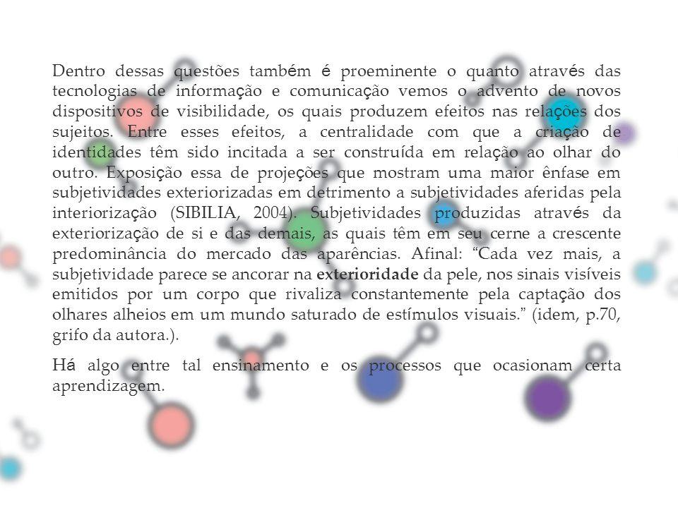 Dentro dessas questões também é proeminente o quanto através das tecnologias de informação e comunicação vemos o advento de novos dispositivos de visibilidade, os quais produzem efeitos nas relações dos sujeitos. Entre esses efeitos, a centralidade com que a criação de identidades têm sido incitada a ser construída em relação ao olhar do outro. Exposição essa de projeções que mostram uma maior ênfase em subjetividades exteriorizadas em detrimento a subjetividades aferidas pela interiorização (SIBILIA, 2004). Subjetividades produzidas através da exteriorização de si e das demais, as quais têm em seu cerne a crescente predominância do mercado das aparências. Afinal: Cada vez mais, a subjetividade parece se ancorar na exterioridade da pele, nos sinais visíveis emitidos por um corpo que rivaliza constantemente pela captação dos olhares alheios em um mundo saturado de estímulos visuais. (idem, p.70, grifo da autora.).