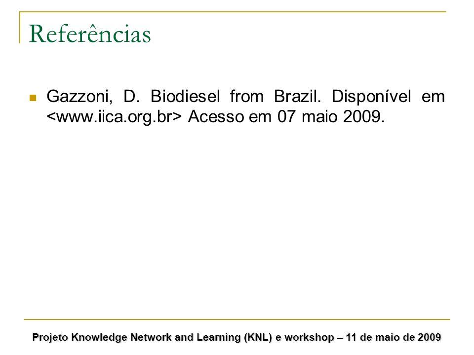 Referências Gazzoni, D. Biodiesel from Brazil. Disponível em <www.iica.org.br> Acesso em 07 maio 2009.