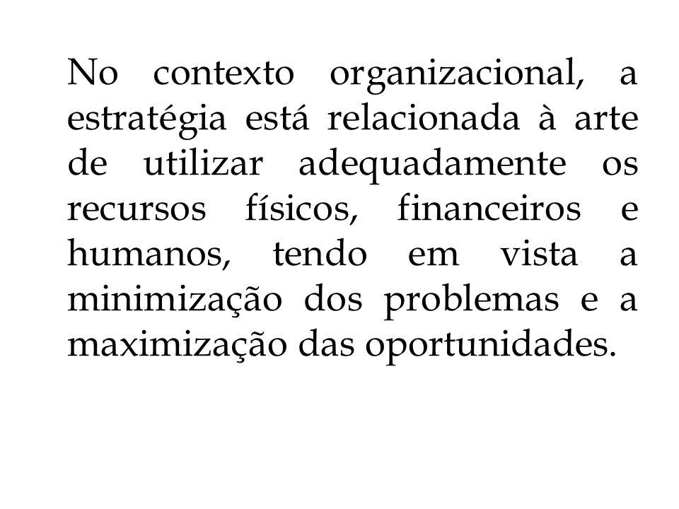 No contexto organizacional, a estratégia está relacionada à arte de utilizar adequadamente os recursos físicos, financeiros e humanos, tendo em vista a minimização dos problemas e a maximização das oportunidades.