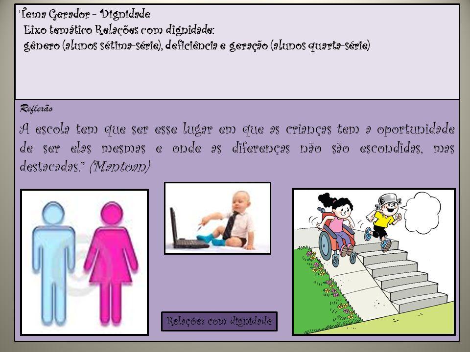 Tema Gerador - Dignidade Eixo temático Relações com dignidade: gênero (alunos sétima-série), deficiência e geração (alunos quarta-série)