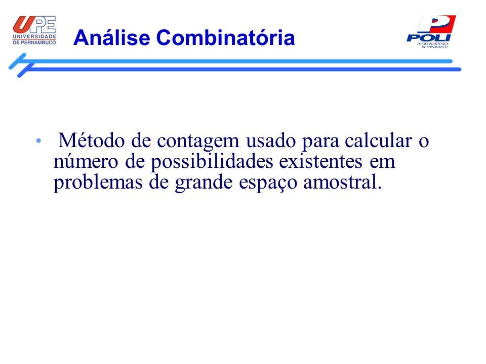 Análise CombinatóriaMétodo de contagem usado para calcular o número de possibilidades existentes em problemas de grande espaço amostral.