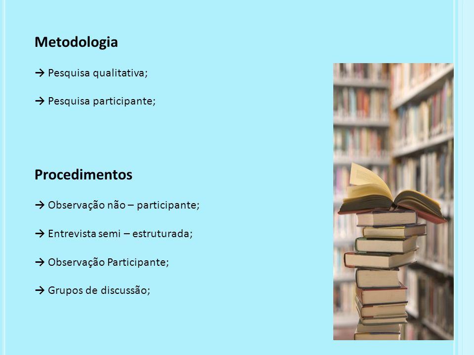 Metodologia Procedimentos → Pesquisa qualitativa;