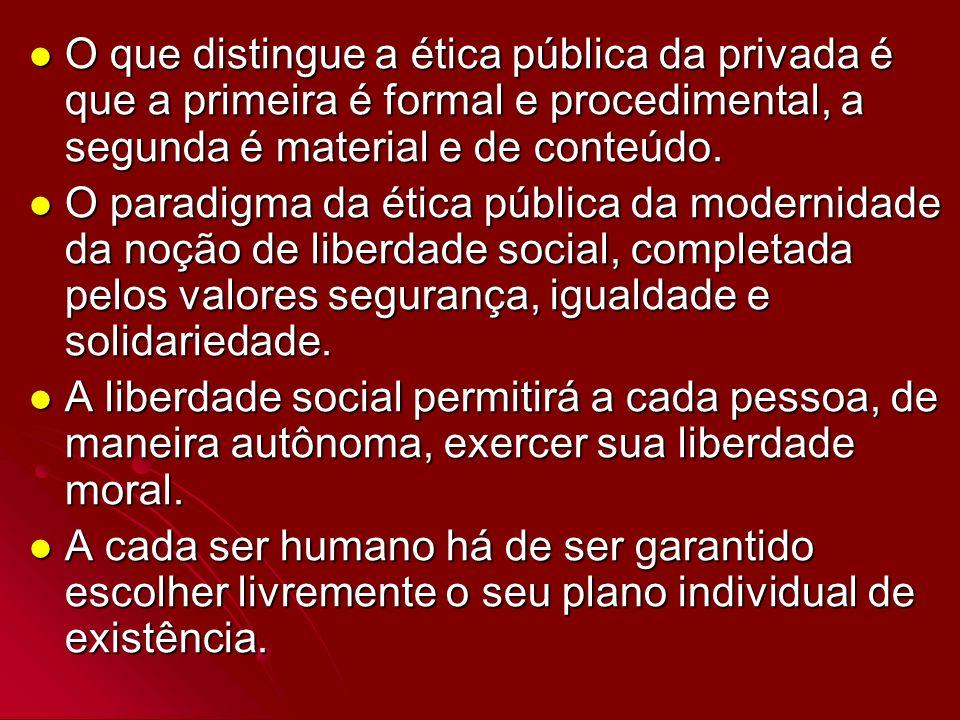 O que distingue a ética pública da privada é que a primeira é formal e procedimental, a segunda é material e de conteúdo.