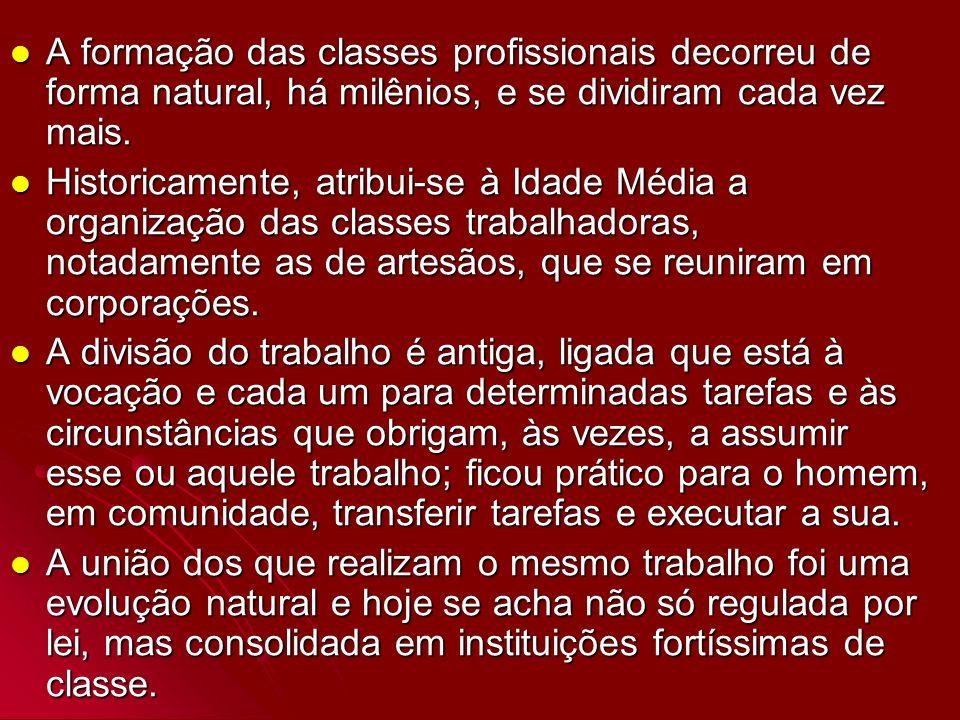 A formação das classes profissionais decorreu de forma natural, há milênios, e se dividiram cada vez mais.