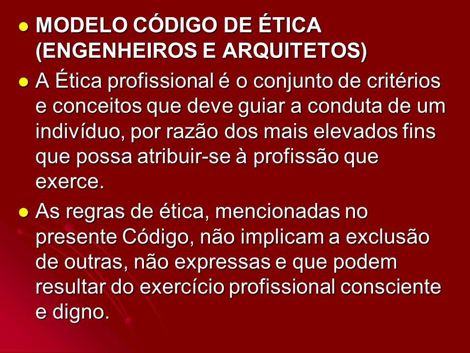 MODELO CÓDIGO DE ÉTICA (ENGENHEIROS E ARQUITETOS)