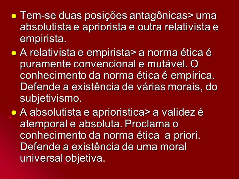 Tem-se duas posições antagônicas> uma absolutista e apriorista e outra relativista e empirista.