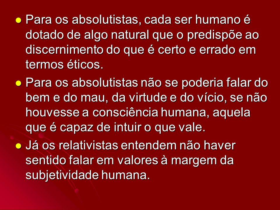 Para os absolutistas, cada ser humano é dotado de algo natural que o predispõe ao discernimento do que é certo e errado em termos éticos.