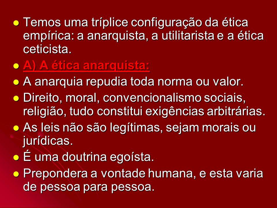 Temos uma tríplice configuração da ética empírica: a anarquista, a utilitarista e a ética ceticista.