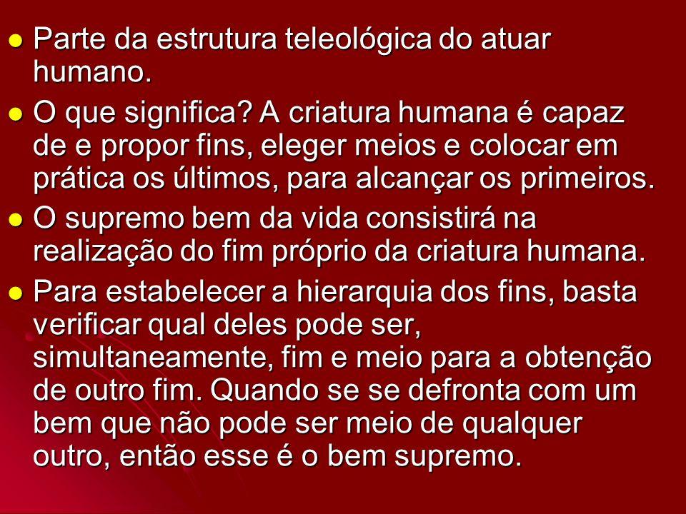 Parte da estrutura teleológica do atuar humano.