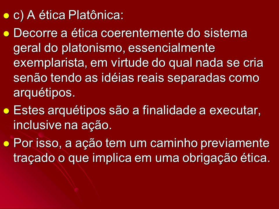 c) A ética Platônica: