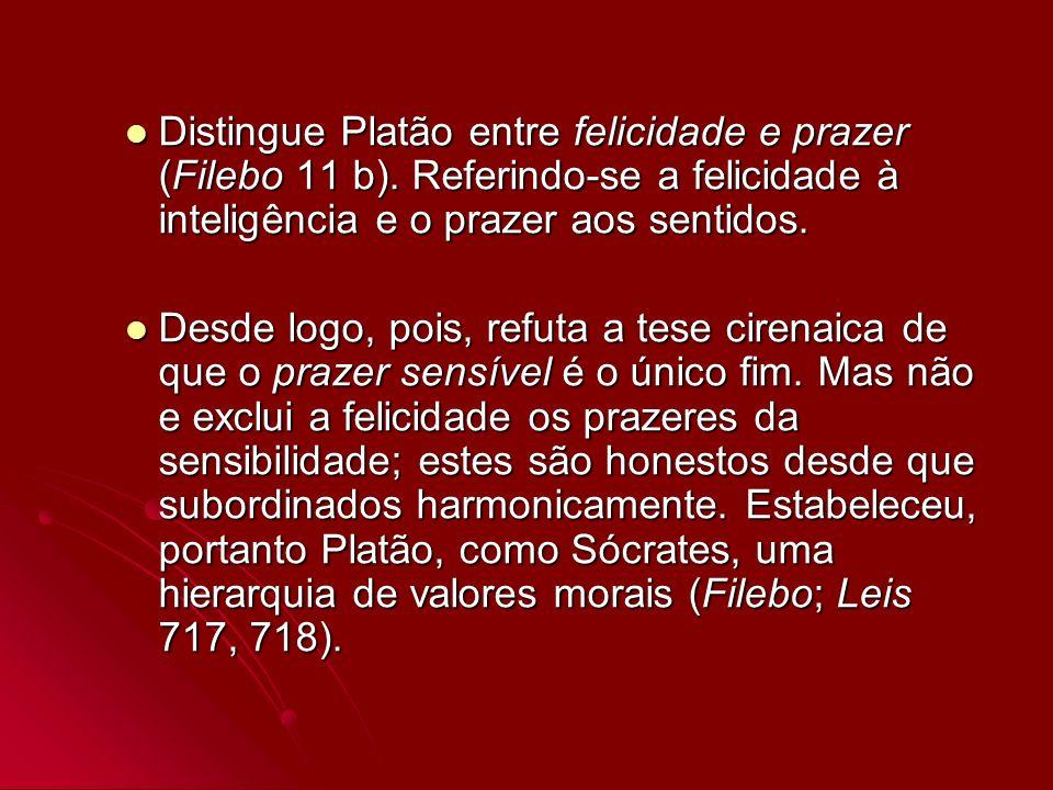 Distingue Platão entre felicidade e prazer (Filebo 11 b)