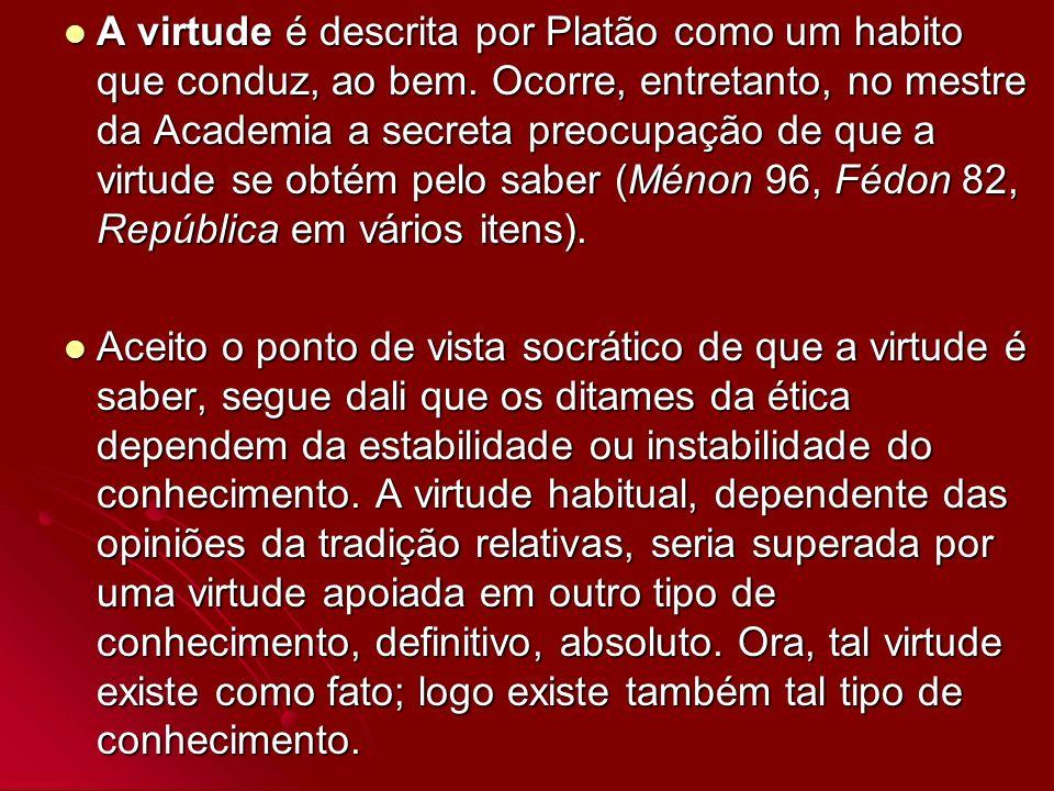 A virtude é descrita por Platão como um habito que conduz, ao bem