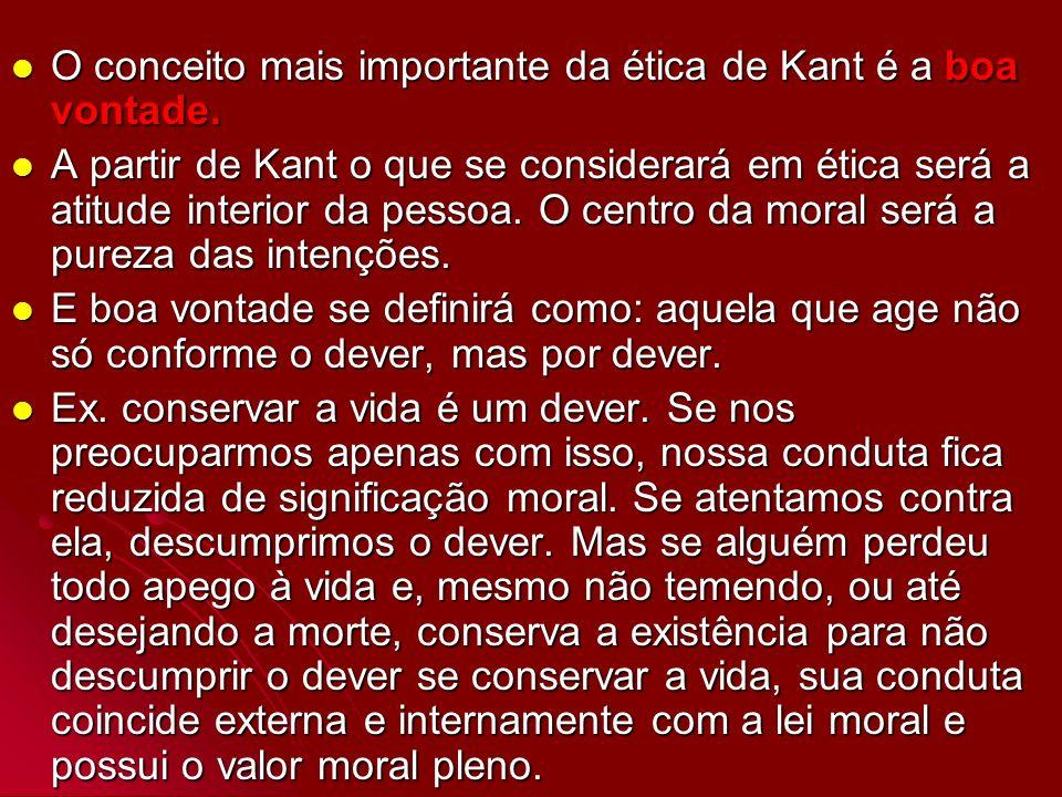 O conceito mais importante da ética de Kant é a boa vontade.