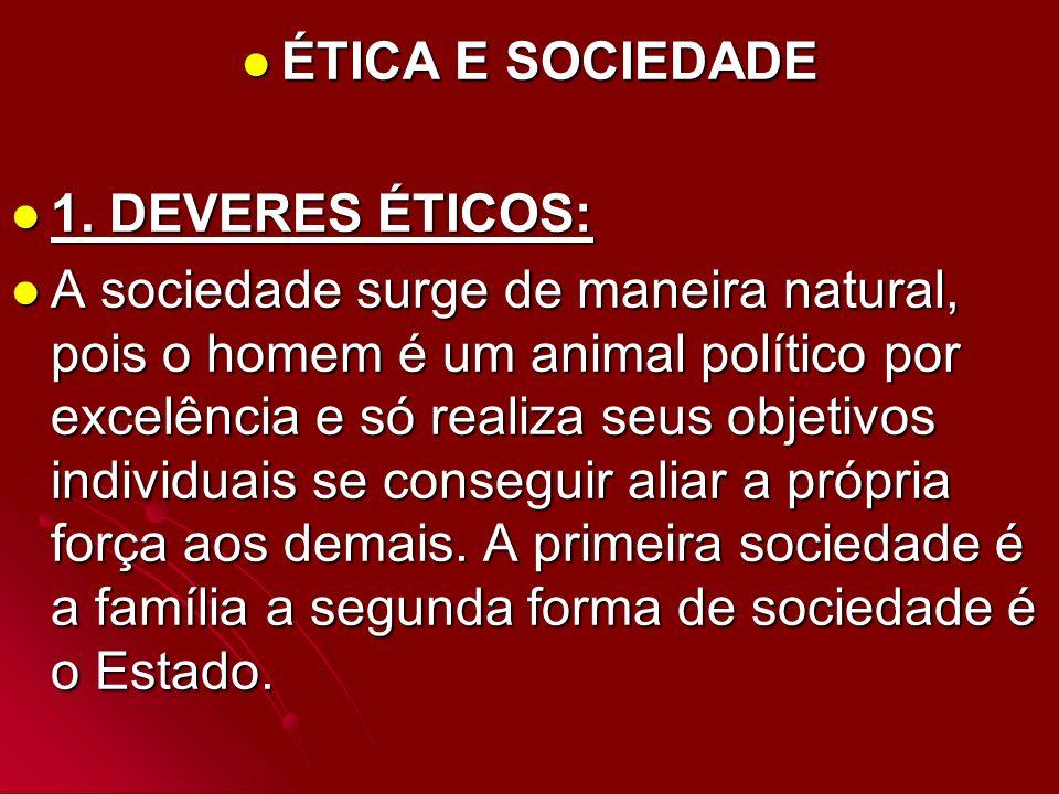 ÉTICA E SOCIEDADE 1. DEVERES ÉTICOS: