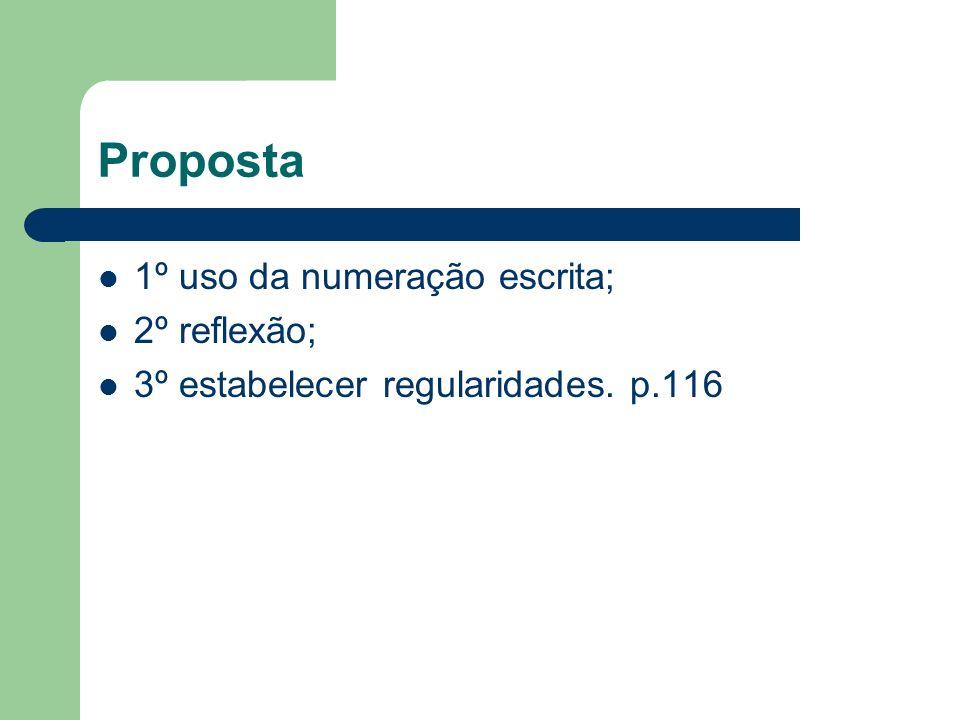 Proposta 1º uso da numeração escrita; 2º reflexão;