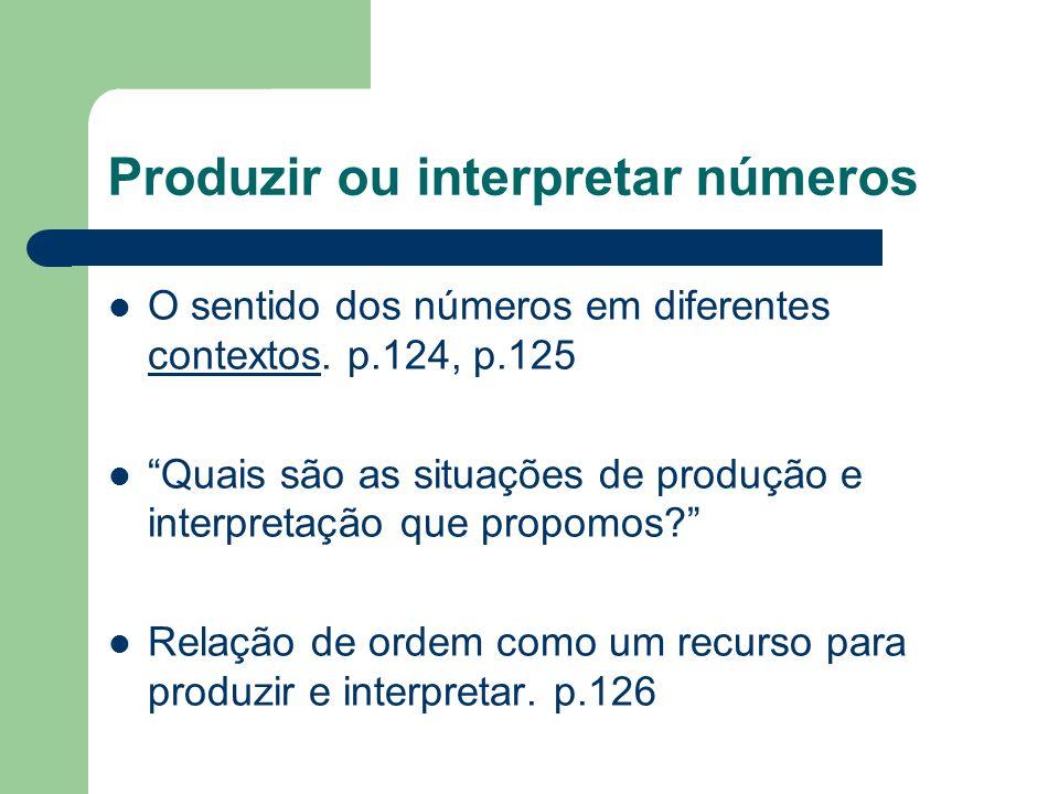 Produzir ou interpretar números