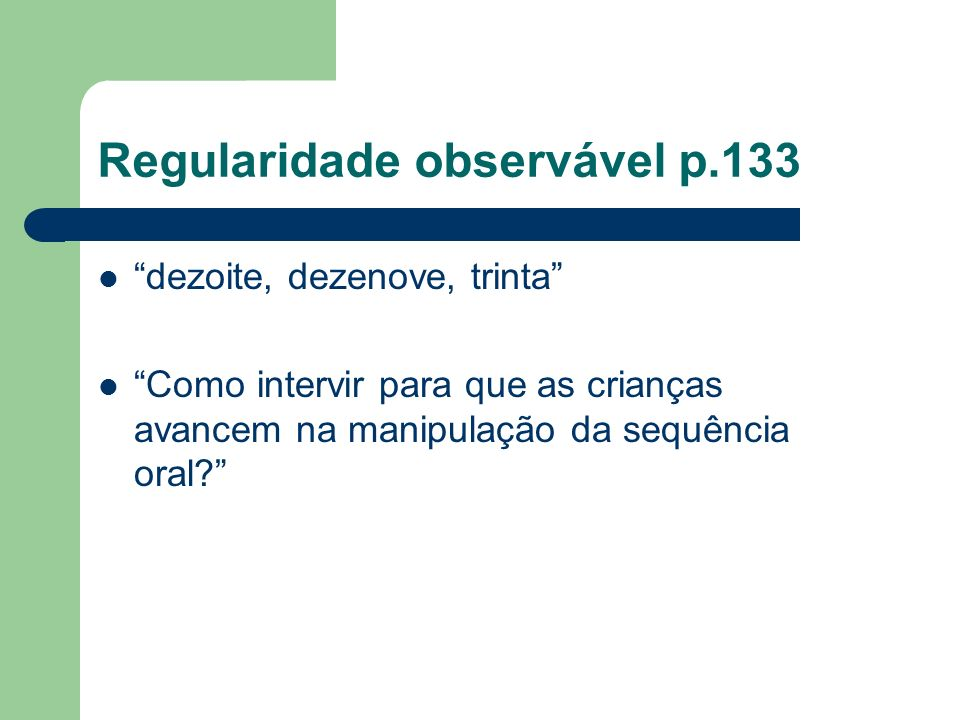 Regularidade observável p.133