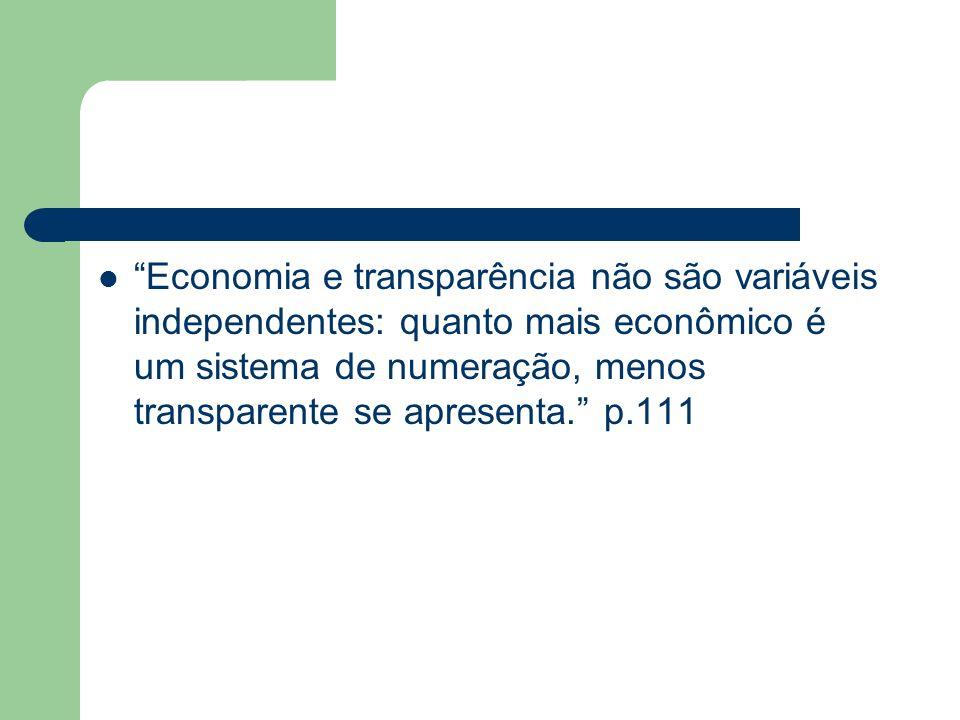 Economia e transparência não são variáveis independentes: quanto mais econômico é um sistema de numeração, menos transparente se apresenta. p.111