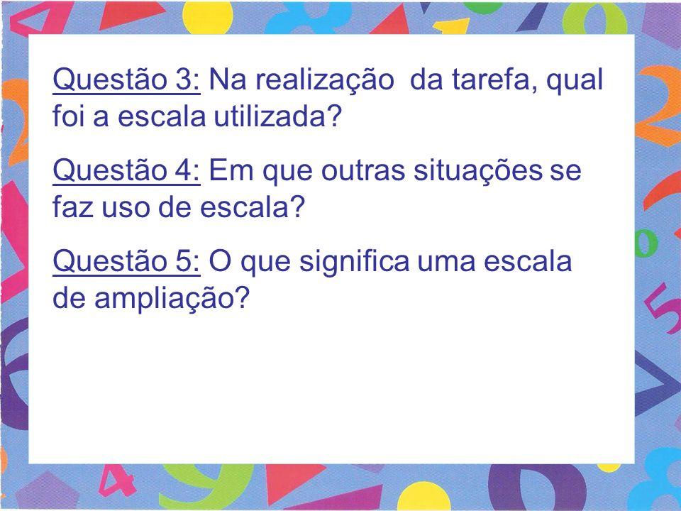 Questão 3: Na realização da tarefa, qual foi a escala utilizada