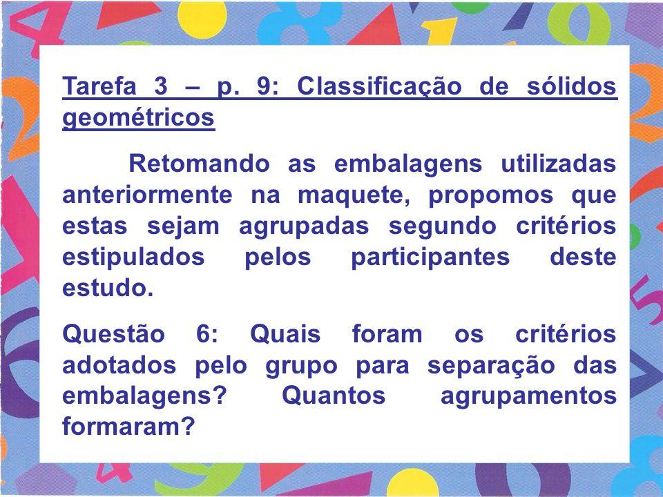 Tarefa 3 – p. 9: Classificação de sólidos geométricos