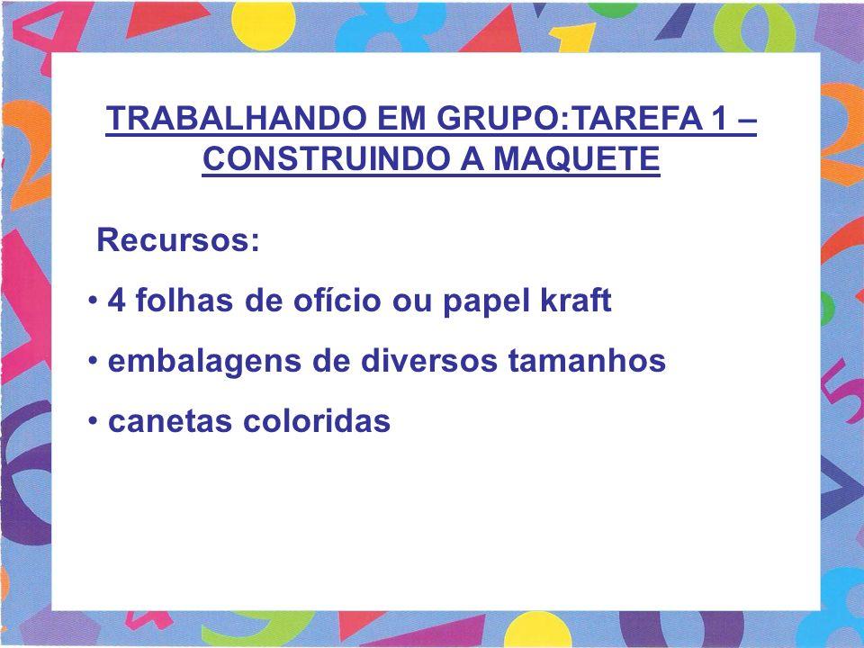 TRABALHANDO EM GRUPO:TAREFA 1 – CONSTRUINDO A MAQUETE