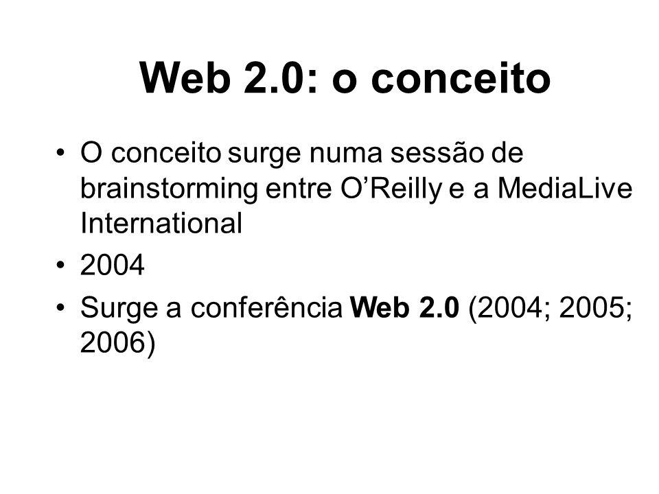Web 2.0: o conceitoO conceito surge numa sessão de brainstorming entre O'Reilly e a MediaLive International.
