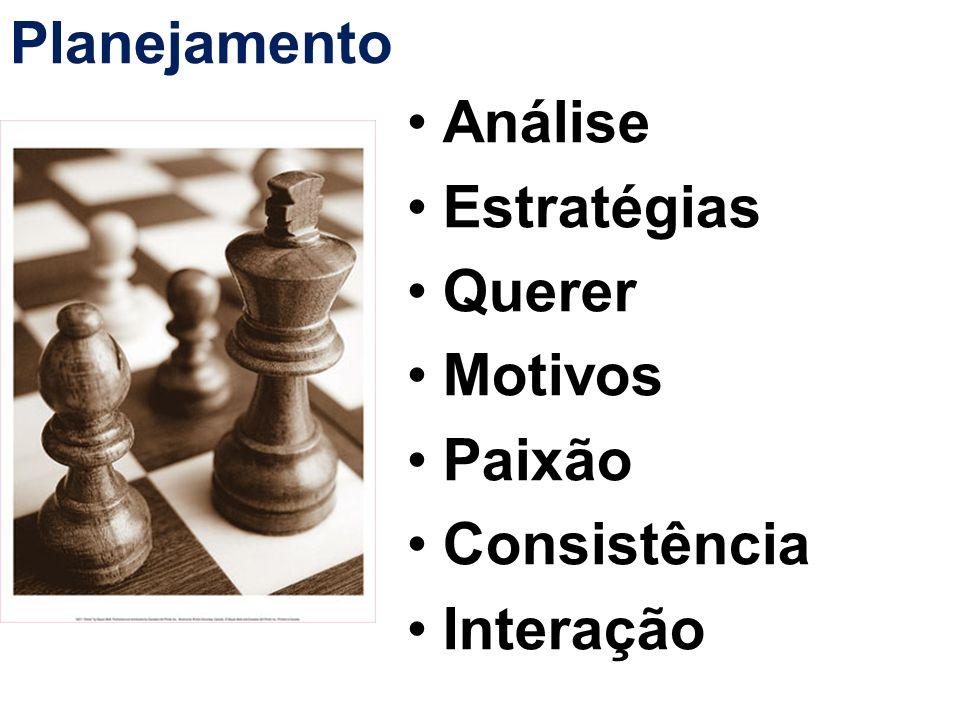 Planejamento Análise Estratégias Querer Motivos Paixão Consistência Interação